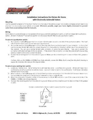 Horn Installation Instructions Kleinn Air Horns