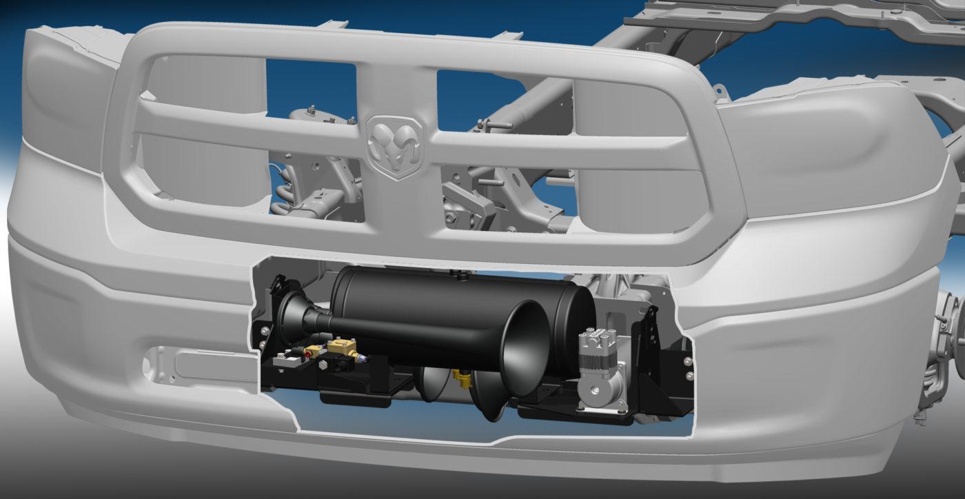 ram 1500 custom fit bolt-on train horn & onboard air system
