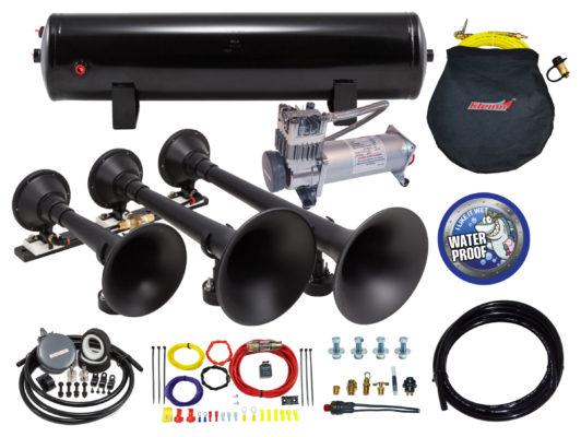 Chrome Kleinn Air Horns HK1 Complete Dual Air Horn Package